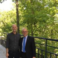Professor Golembeski with Guillaume LaCroix on the Little Mac Bridge